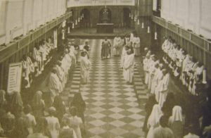 The interior of the abbey church in the 1970s